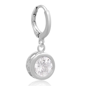 Swarovski Elements Crystal Bezel Set Drop Earrings In Silver, 1 Inch