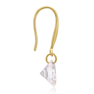 Floating Swarovski Elements Dangle Earrings In Yellow Gold, 1 Inch