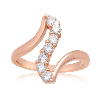 1/2 Carat Crystal Journey Ring In 18 Karat Rose Gold Overlay