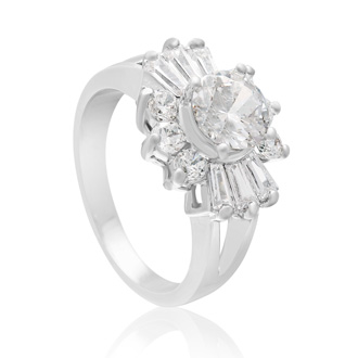 2 Carat Round Simulated Diamond Engagement Ring