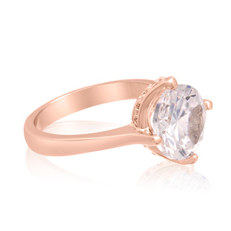 3 Carat Created Diamond Rotated Prong Engagement Ring, Rose Gold Overlay