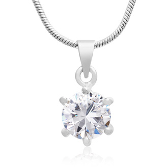 2 Carat Swarovski Elements Solitaire Pendant With Free 18 Inch Chain