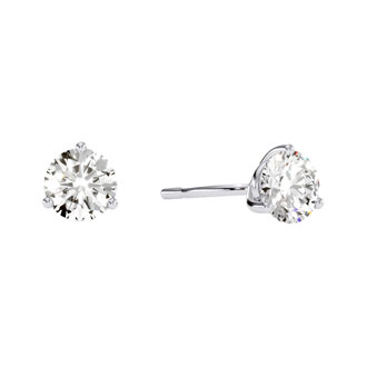 1/2ct Round Diamond Stud Earrings in 14k White Gold with Martini Setting.