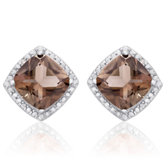3 3/4 Carat Cushion Cut Smoky Quartz and Diamond Earrings In Sterling Silver