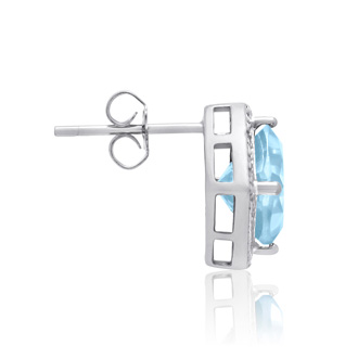 3 3/4 Carat Cushion Cut Blue Topaz and Diamond Earrings In Sterling Silver