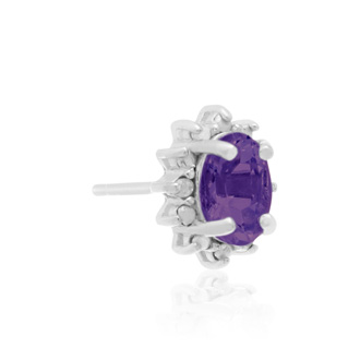 1 Carat Amethyst and Diamond Earrings In Sterling Silver