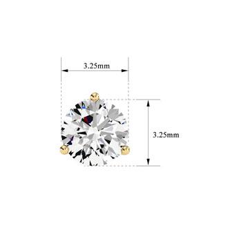 1/3ct Natural Genuine Diamond Stud Earrings In Martini Setting, 14 Karat Yellow Gold