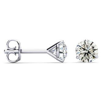 1 Carat Diamond Stud Earrings In Martini Setting, 14 Karat White Gold