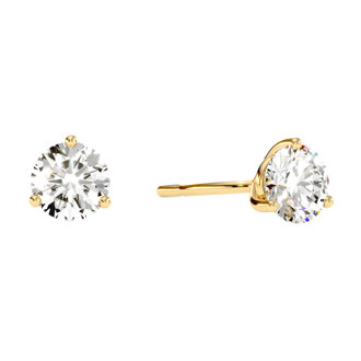 1 1/2ct Natural Genuine Diamond Stud Earrings In Martini Setting, 14 Karat Yellow Gold