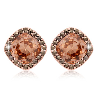 4ct Crystal Morganite and Marcasite Earrings