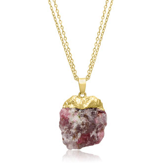 30 Carat Natural Multicolored Agate Necklace In 18 Karat Gold Overlay, 17 Inches