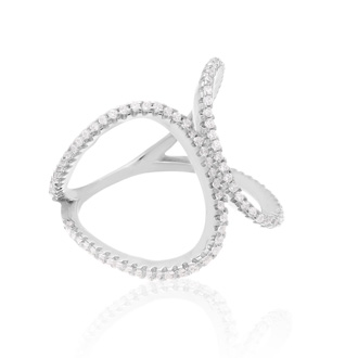 Sterling Silver Cubic Zirconia Kiss Ring