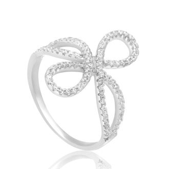 Sterling Silver Cubic Zirconia Filigree Love Knot Ring