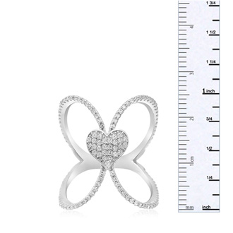 Sterling Silver Cubic Zirconia Open Shank Heart Ring