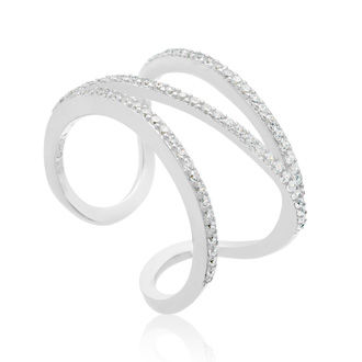 Sterling Silver Cubic Symmetrical Band Open Shank Ring