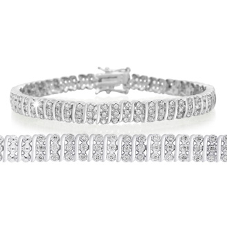 1ct Three Row Diamond Bracelet. Bold Three-Row