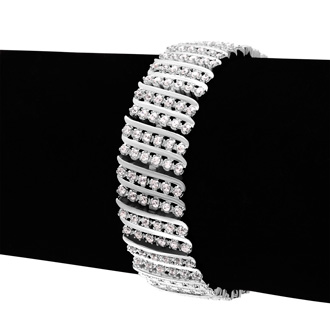 Impressive 2 Carat Six Row Diamond Bracelet With Platinum Overlay. Everyone Loves This Wonderful Shimmery Bracelet!