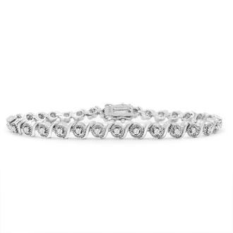 40 Point Natural Diamond Bracelet, Platinum Overlay, 7
