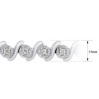 40 Point Natural Diamond Bracelet, Platinum Overlay, 7