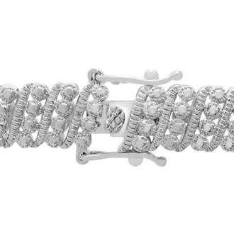 1 Carat Four Row Diamond Bracelet, Platinum Overlay, 7 Inches