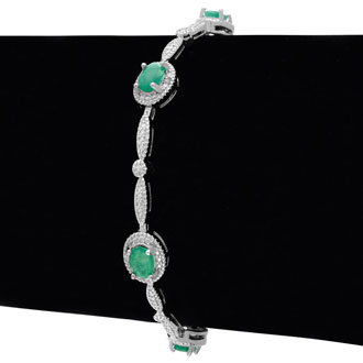 3 1/2ct Emerald and Diamond Bracelet