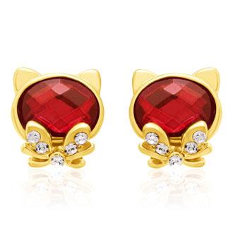 Swarovski Elements Ruby Cat Stud Earrings, Gold Overlay, Pushbacks