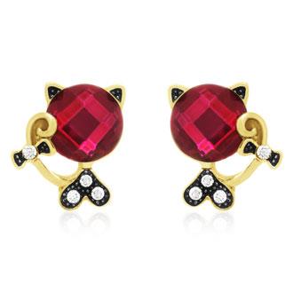 Swarovski Elements Pink Sapphire Sassy Cat Stud Earrings, Gold Overlay, Pushbacks