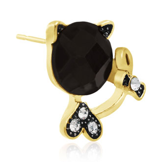 Swarovski Elements Black Onyx Sassy Cat Stud Earrings, Gold Overlay, Pushbacks