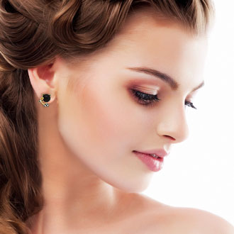 Swarovski Elements Black Onyx Sassy Cat Stud Earrings, Gold Overlay, Pushbacks