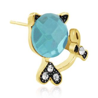 Swarovski Elements Aquamarine Sassy Cat Stud Earrings, Gold Overlay, Pushbacks