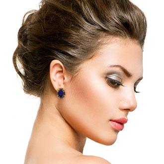 Swarovski Elements Blue Sapphire and Black Onyx Stud Earrings, Gold Overlay, Pushbacks