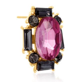 Swarovski Elements Pink Topaz and Black Onyx Stud Earrings, Gold Overlay, Pushbacks