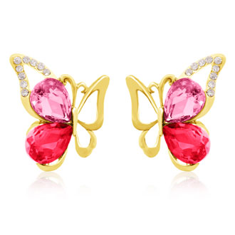 Rose and Pink Topaz Swarovski Elements Butterfly Stud Earrings, Gold Overlay, Pushbacks