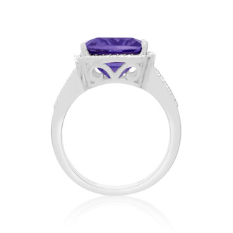 5ct Cushion Cut Created Tanzanite Ring
