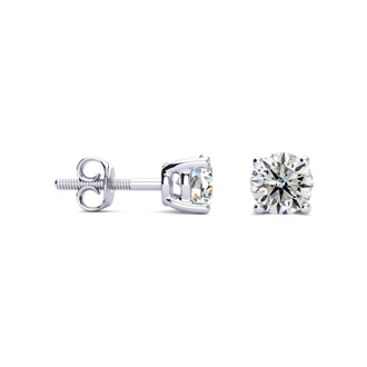 1 Carat Diamond Stud Earrings In Platinum