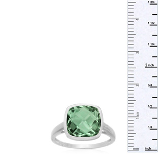 3.70 Carat Cushion Cut Green Amethyst Ring, Bezel Setting, Platinum Overlay