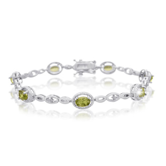 4 Carat Oval Shape Peridot and Halo Diamond Bracelet, Platinum Overlay, 7 Inches