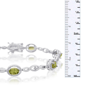 4 Carat Oval Shape Peridot and Halo Diamond Bracelet, Platinum Overlay, 7 Inches