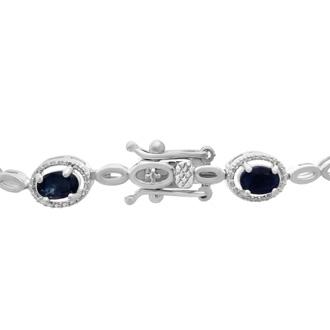 4 1/2ct Sapphire and Diamond Halo Bracelet