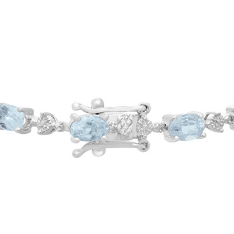 7 1/2ct Blue Topaz and Diamond Bracelet