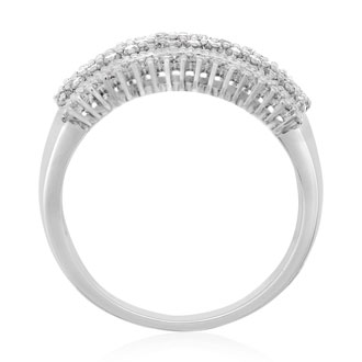 1 Carat 7 Row Diamond Band Ring In Sterling Silver.