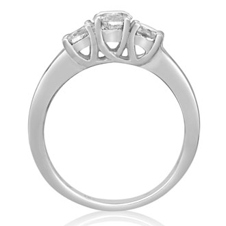 1 Carat Engagement Three Diamond Ring In White Gold
