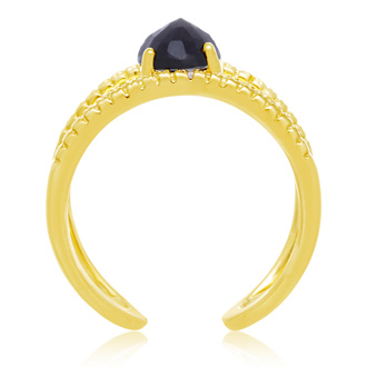 1.6 Carat Sapphire and Diamond Open Shank Ring In 14 Karat Yellow Gold Over Sterling Silver