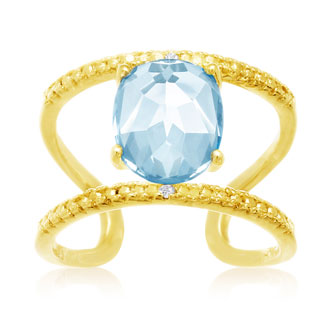 3.40 Carat Blue Topaz and Diamond Open Shank Ring In 14 Karat Yellow Gold Over Sterling Silver