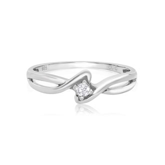 1/10ct Twisted Diamond Promise Ring in Sterling Silver