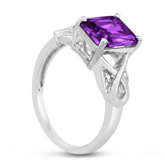 2 3/4ct Emerald Shape Amethyst and Diamond Infinity Ring