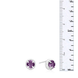 3/4ct Amethyst and Diamond Halo Earrings