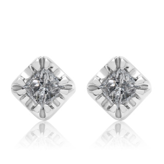 ONLY 4 PAIRS REMAIN AT THIS CRAZY DEAL PRICE!  1 Carat Princess Shape Diamond Stud Earrings In White Gold,