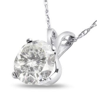 1 ½ Carat Diamond Pendant in 14k White Gold. Big,But Not Very Fine Diamond. Great For The Money!