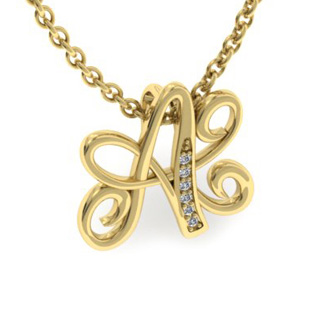 Yellow Gold Serif A Initial Necklace With 6 Diamonds